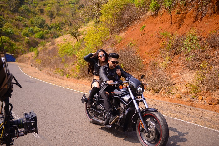 Khushali Kumar and Guru Randhawa in a stunning biker's look